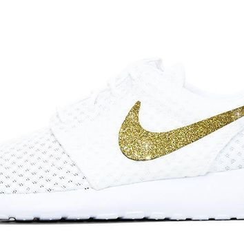 CLEARANCE - Nike Roshe One + Gold Glitter - White size 7.5 - SLIGHT SMUDGE MARKS - SEE ADDITIONAL PICTURES