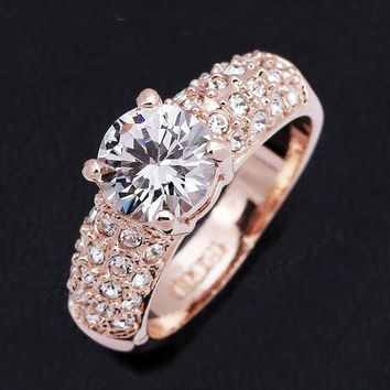 women Wedding Ring AAA CZ Diamond Crystal 18K Gold Plated Fashion Finger Rings Engagement Jewel = 1932541636