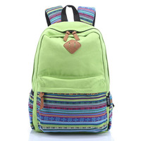 Cute Striped Travelling Bag School Bag Canvas Casual Backpack Bookbag Daypack