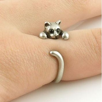 Animal Wrap Ring - Kitten / Cat - White Bronze - Adjustable Ring