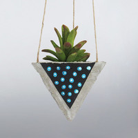 Air Planter, Succulent Planter, Concrete Planter, Hanging Planter, Succulent Holder, Geometric Planter, Black Planter, Succulent Pot, Blue