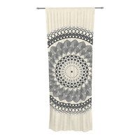 "Famenxt ""Black & White Boho Mandala"" Geometric Decorative Sheer Curtain"