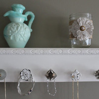 Shelf with hooks, white shelf with knobs, jewelry organizer, hanging jewlery, necklace holder wall, shabby chic, kitchen, bedroom decor