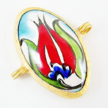 Hand painted Turkish Cini Ceramic Connector - Red Tulip Oval - Gold plated 1pc