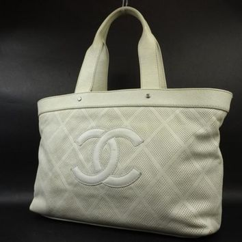 Chanel Perforated Cc 218174 White Tote Bag