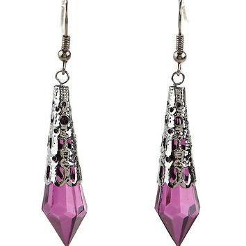 Blackheart Filigree Purple Crystal Drop Earrings