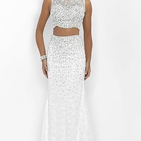 Long Off White Sleeveless Two Piece Prom Dress by Blush