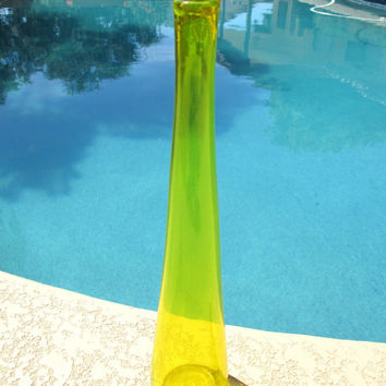 Vintage Blenko Vase Glass Decanter Tall Yellow Blown Glass Art Bottle Pontil Scar Mark