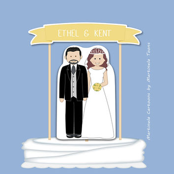 Custom wedding cake topper, wedding banner, personalized bride and groom DIY paper cake topper. Printable