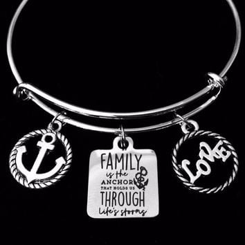 Family is the Anchor Thru Life's Storms Expandable Charm Bracelet Family Love Jewelry Silver Adjustable Bangle One Size Fits All Gift Nautical Rope