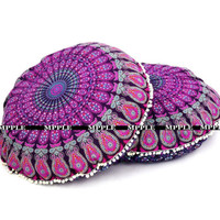 Mandala Purple Pillows Meditation Cushion Cover Ottomans Poufs Pom Pom Tassel