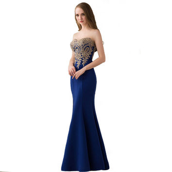 2016 Long Mermaid Evening Dress Gold Appliques Floor Length Women Sweetheart Formal Gowns Party Dresses 11 Colors In Stock