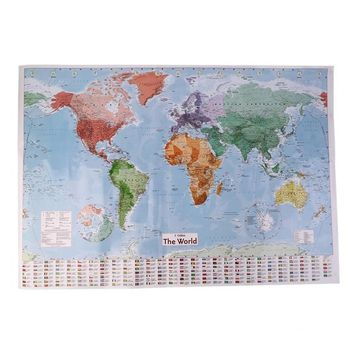 Best Selling 98 x 68 cm English Large Map of the World with Country Flags Office Wall Poster