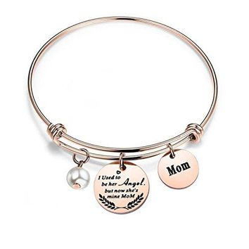 Mother Memorial Bracelet I Used To Be Her Angel Now Shes Mine Mom Bracelet Mom Bracelet In Memory Of Loved One Mom Gift