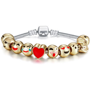 Stylish Gold Accessory Emoji Cartoons Alloy Environmental Bracelet [10893371151]