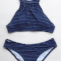 Cupshe Sunday Rest Stripe Tank Bikini Set