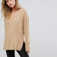 Polo Ralph Lauren Oversized V Neck Cable Knit Jumper at asos.com