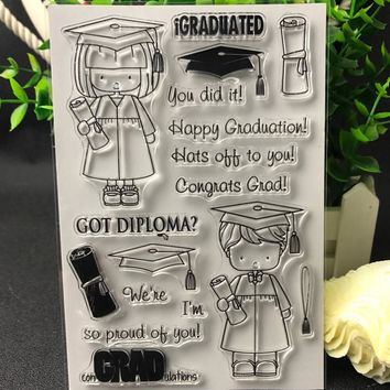 Happy Graduate Transparent Clear Silicone Stamps