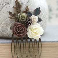 Floral Hair Comb Leaf Comb Neutral Earth Tones Cream Brown Rose Flower Hair Accessories Fall Autumn Woodland Wedding Pine Cone Nature Forest