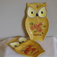Vtg Owl Spoon Rest- Set of 2-  Glazed Ceramic Florida Souvenir- Retro Kitchen Decor