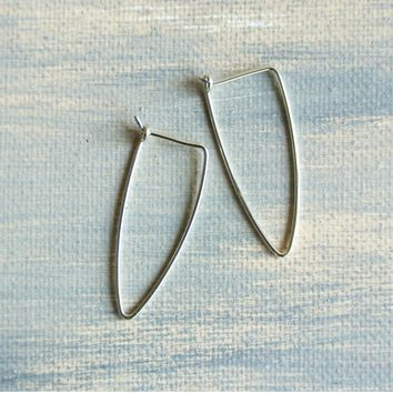 Triangle Shape Sterling Silver Dangle Earrings - 1.5 inches