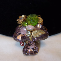 MIRIAM HASKELL Brooch Purple Green Glass Cabochon Rhinestone Sweet Heart Gold Plate Pin