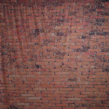 Coral Orange Brick Wall Platinum Cloth Backdrop - 8x8 - LCPCSL365 - LAST CALL