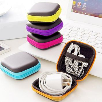1pc Earphone Wire Storage accessory Zipper Protective Data Line Cables Storage Container Case casual colorful A45