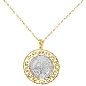 18k Gold Plated Reversible Medal Saint Benedict Pendant Necklace 19""