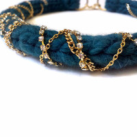 The Michelle Necklace- Hand knit Turquoise Yarn wrapped with Gold and Rhinestone chains