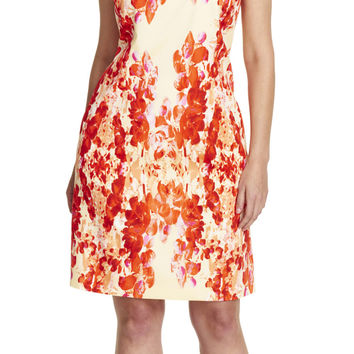 Cascading Floral Printed Sheath Dress - Adrianna Papell