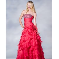 2013 Prom Dresses - Watermelon Strapless Ruffled Chiffon Prom Dress