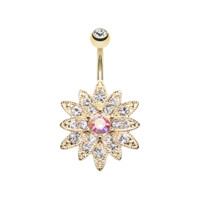 Golden Chrysanthemum Flower Belly Button Ring Navel Ring Body Jewelry 316L Surgical Stainless Steel