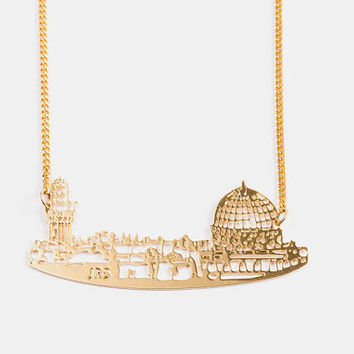 Gold Jerusalem Necklace, Jerusalem Jewelry, City Skyline, Statement Necklace, Israeli Jewelry