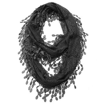 Black Lace Infinity Scarf with Eyelet Trim
