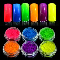 6 Color Neon Pigment for Nails Fluorescence Effect Nail Glitter Neon Dust for Nails Decor Dipping Powder Nail Design 2017 SF2016