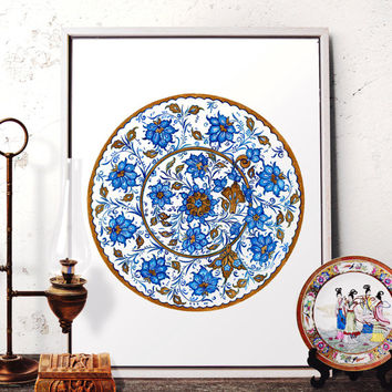 Blue Floral Watercolor Art, Ottoman Flower Motif Home Decor, Traditional Iznik Plate Design Wall Art, Turkish Prints and Original Painting