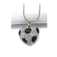 Crystal Accented Puffy Heart Soccer Pendant Necklace