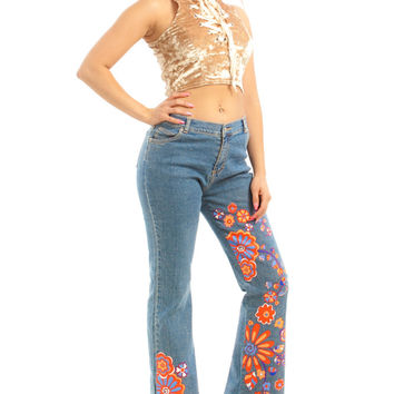 Not-Quite-Vintage 00's Mushroom Child Floral Denim Flares - One Size Fits Many