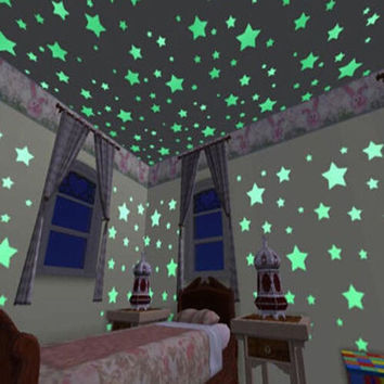 100pcs Luminous Glow In The Dark Fluorescent Stars Wall Stickers Decal