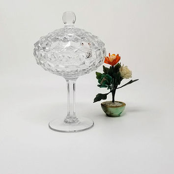 Fostoria American Cube Pattern Compote Footed Candy Dish