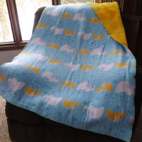Elephants and Yellow Fleece Double Layer Crib Blanket, Toddler Bed or Throw Blanket, Lap Blanket, 2 Layer