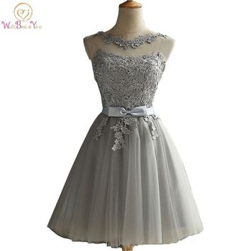 Walk Beside You Gray Cocktail Dresses Party Dress Special Occasion Dresses Lace Applique Sheer Neck Short Formal Gowns Robe De