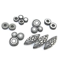 Unique black and white combination beads set, round and leaf shape polymer clay beads, set of 17 elegant beads