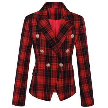 HIGH QUALITY Runway 2018 Designer Blazer Women's Long Sleeve Double Breasted Lion Metal Buttons Classic Plaid Blazer Jacket