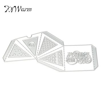 KiWarm Merry Christmas Flag Box Metal Cutting Dies Stencil for Scrapbooking Photo Album Card Decorative Embossing Metal Crafts