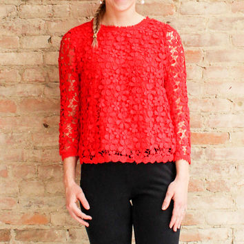 Rosaria Crochet Top - Poppy Red