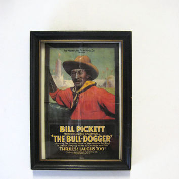 "Wood Picture Frame 6 x 4 Black Early Century Bill Pickett ""The Bull-Dogger"" Postcard"