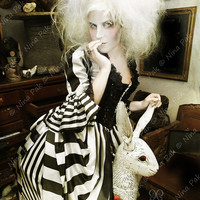 black striped Marie Antoinette Victorian burton inspired rococo costume dress with corset