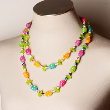 Vintage Colorful Floral Necklace